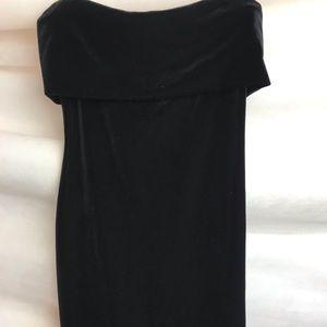 Black Velvet Mini Strapless Dress